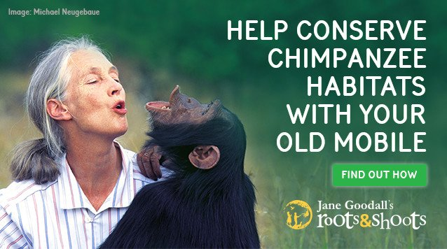 Dr. Jane Goodall | Help Conserve Chimpanzee habitats with your old mobile